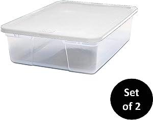 HOMZ Snaplock Clear Storage Bin with Lid, Medium-28 Quart, White, 2 Pack