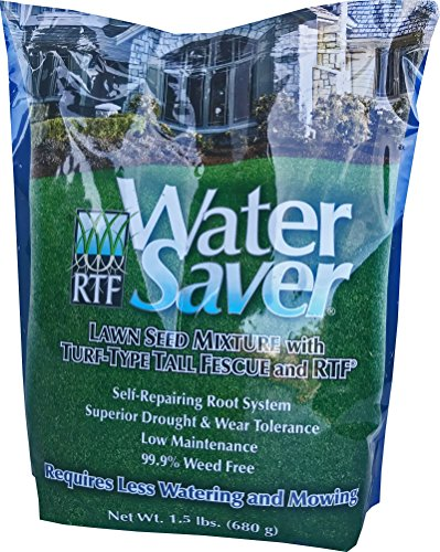WaterSaver Grass Mixture with Turf-Type Tall Fescue Used to Seed New Lawn and Patch Up Jobs - Grows in Sun or Shade, 1.5 lbs - Covers 1/100 Acre