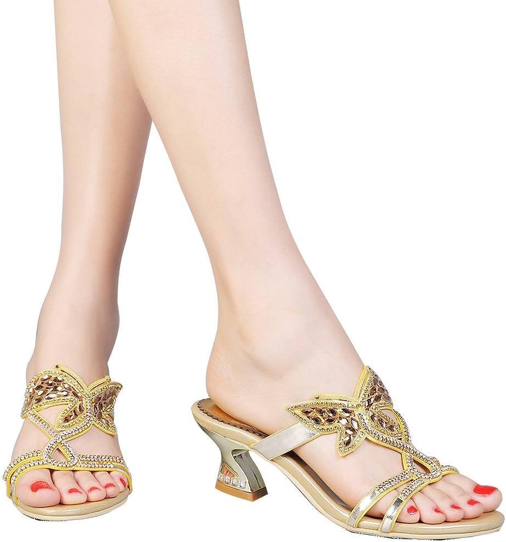 YooPrettyz Slip On Casual Sandals Triple Strap Butterfly Patterned Rhinestone Sandal