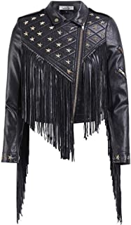 Fashion Women's Rivet Tassels Gothic PU Leather Jacket High Street Punk Biker Jacket,Black,L