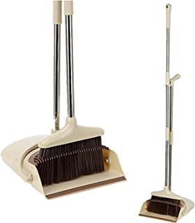 Broom and Dustpan Set - Stand Up Brush and Dust Pan Combo for Upright Cleaning - Remove Hair with Built-in Wisp Scraper - ...