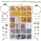 1745pcs Kit Accesorios Joyería Artesanía Fabricación Joyas Material Pendientes Collar Pulsera Color Oro Plata
