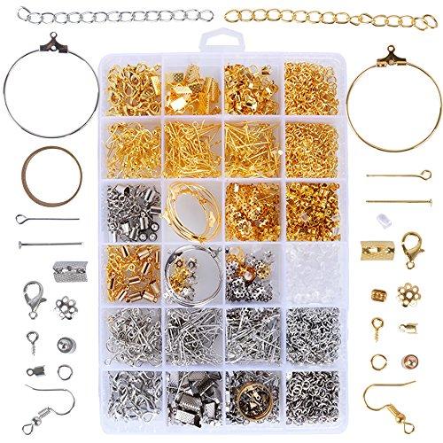 1745pcs Kit Ganchos para hacer Pendientes Bisutería Accesorios de Fabricación de Joyas Pendientes Collar Pulsera Material Pendientes Color Oro Plata