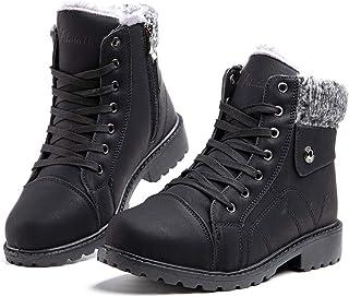 Stivali Donna Invernali Stivaletti da Neve Pelliccia Scarpe Snow Boots Caldo Stringati Scarponi Bassi Antiscivolo Trekking...