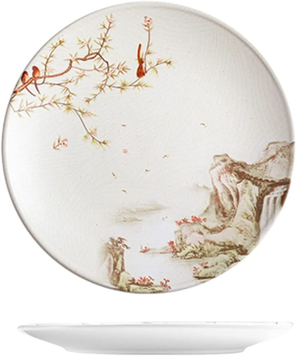 Serving Dishes Chinese Style Flower Bird Din Challenge the lowest price of Japan ☆ Plate Bargain Round Ceramic