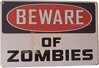 Warning Beware of Zombies Funny Tin Sign Bar Pub Garage Diner Cafe Home Wall Decor Home Decor Art Poster Retro Vintage