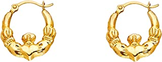 Claddagh Hoop Earrings 14k Yellow Gold Hollow Religious Style Finish French Lock Fancy 12 x 12 mm