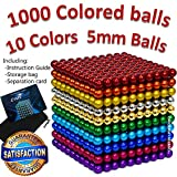 CAROLINA MILANO 1000 pcs 5mm 10 Colors Magnetic Balls Multicolored Large Cube Building Blocks Sculpture Educational Game Fun Office Toy Intelligence Development Stress Relief Imagination Gift 1000pcs