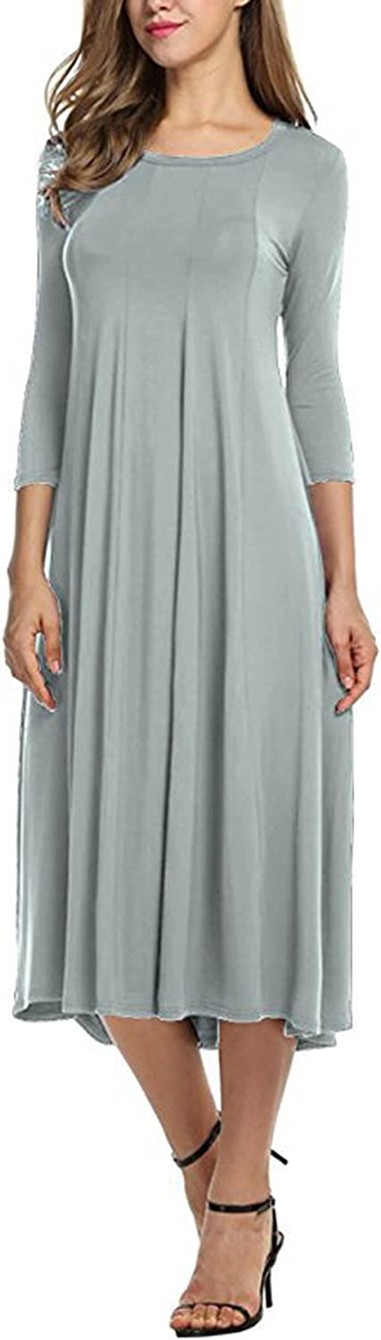 Leezeshaw Women's Round Neck 3/4 Sleeve Loose Solid Casual Dress