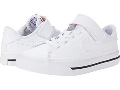 Nike Kids Court Legacy (Little Kid) (White/White/Black) Kid