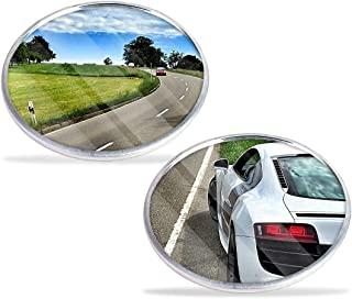 ZONETECH Car Round Blind Spot Mirror-Zone Tech Thin Universal Fit-2 inch Stick on SUV- Rearview Aluminum Border Vehicle Mirrors