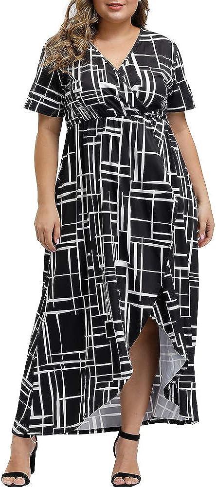 ALLEGRACE Women Plus Size Maxi Dresses Snakeskin Wrap V Neck Summer Casual Flowy Long Dress
