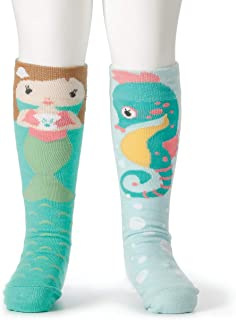 DEMDACO Mermaid and Seahorse Child's 18-36 Months Stretch Cotton Story Time Knee High Socks