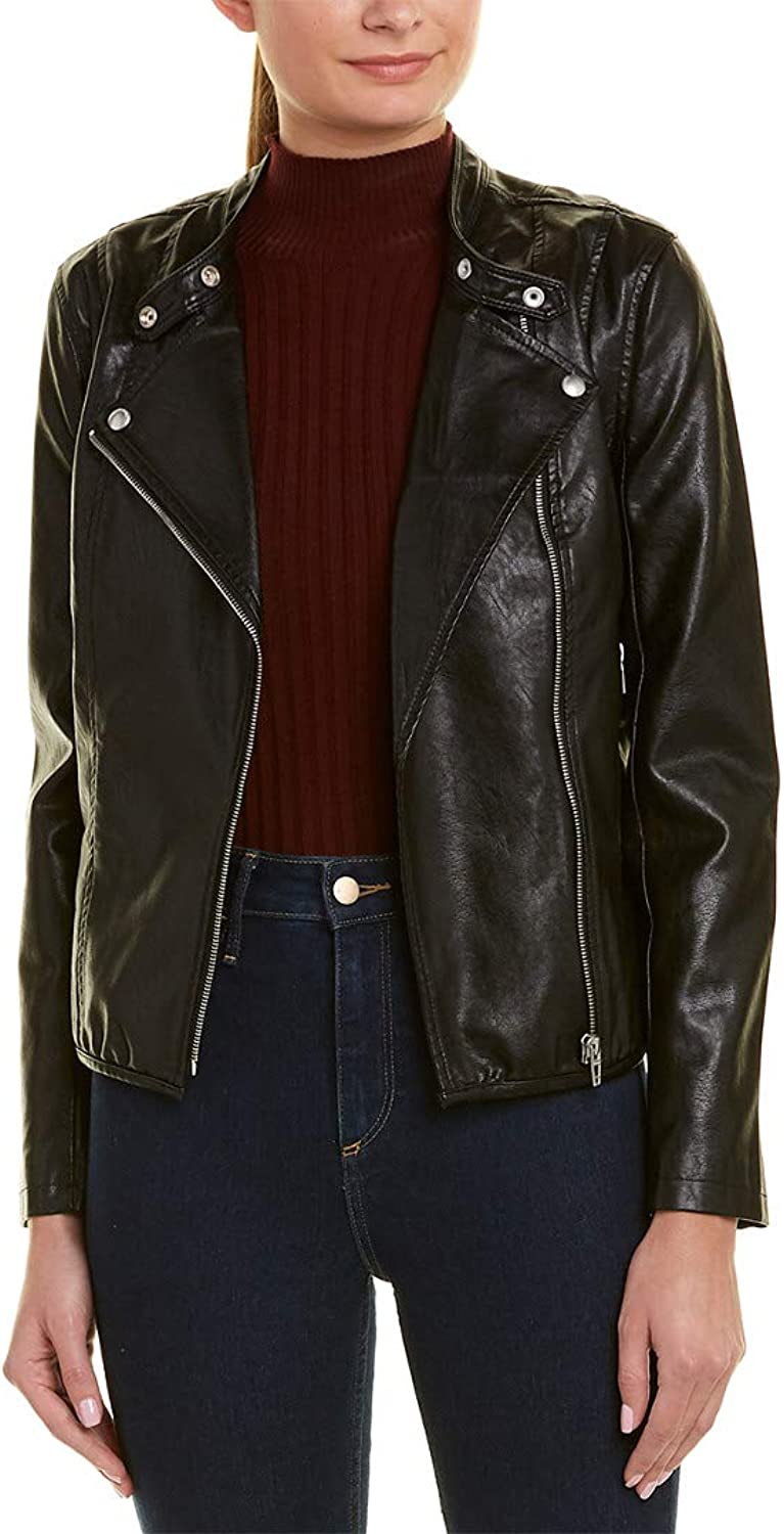 [BLANKNYC] Blank NYC Womens Ruffle Vegan Leather Jacket In Ruffle My Feather