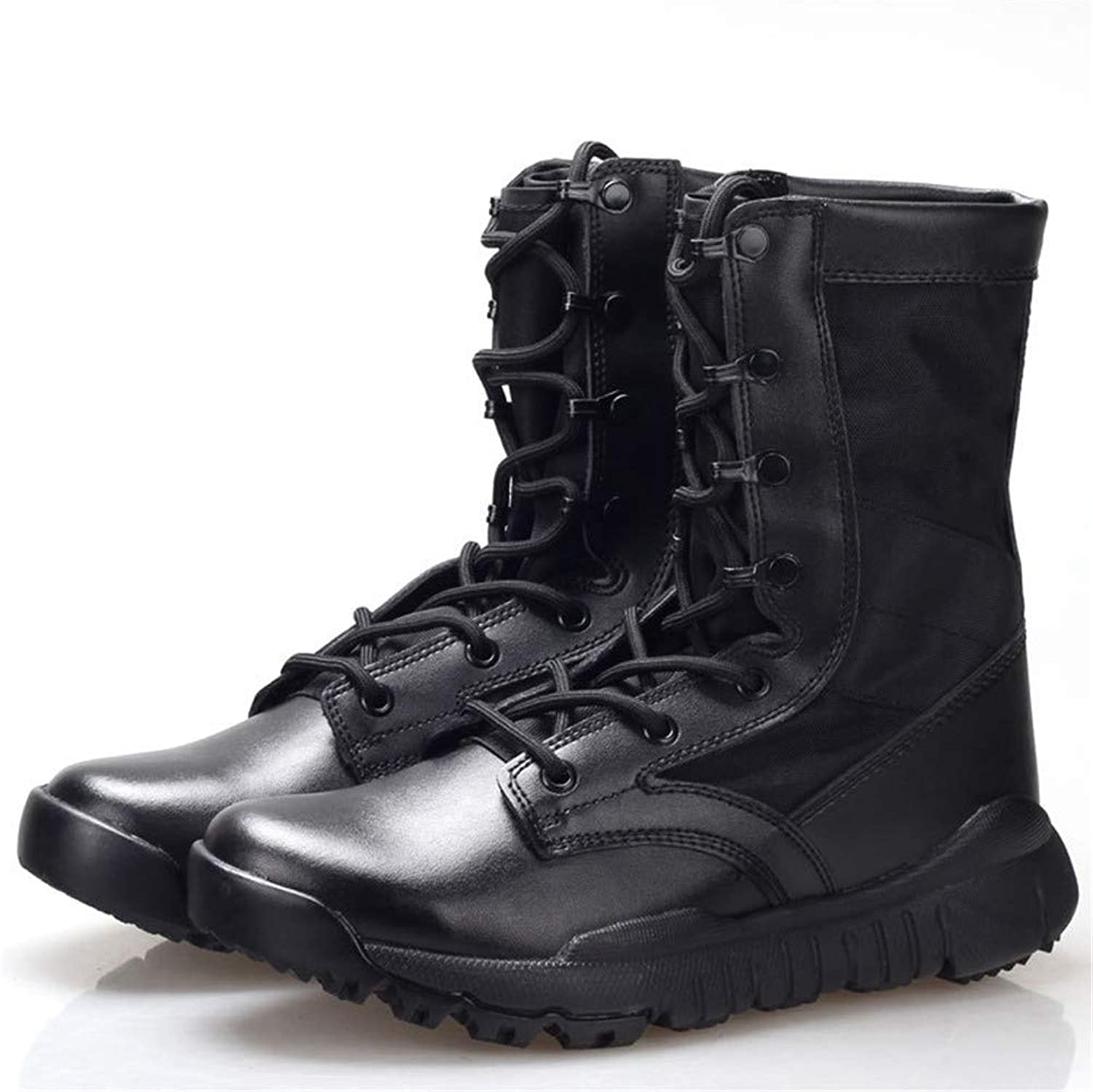 YYIN Men's Boots Ultralight Combat Boots Tactical Boots Non-Slip Wear Resistant Outdoor Comfortable Unisex Leather Boots Work Safety Boots