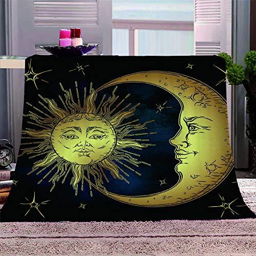 YINHAGT Manta de Franela Manta de Lana Estampata 3D Luna Sol Microfibra Suave Caliente Manta Felpa de Sofá para Hogar, Oficina, Viaje 130 * 150cm