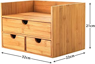 $23 » BLACKOBE Desktop Shelf, 3-Tier Bamboo Storage Organizer with 3 Drawers, Office Supplies Organizer for Office, School, Home 12.6x8.7x8.3in