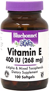 Bluebonnet Nutrition Vitamin E 400 IU (268 mg) Mixed Tocopherols Softgels, Free Radical Portection & Cardiovascular Suppor...
