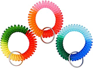 VIEEL 3 Pack Colorful Spring Spiral Coil, Wrist Band Key Ring Chain,Wrist Coil Camper Keychains for Office and Outdoor Activities (3 Color)
