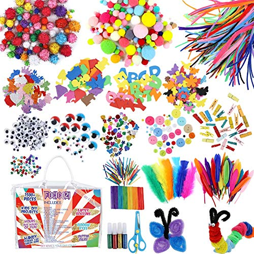 foci cozi Verschiedene Kids Art and Crafts Supplies Kit, 1500+ DIY Projects Pipe Cleaners Pom Poms Feather Popsicle Sticks Buttons Sequins Craft Materials Collage Arts Se