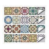 Magiin 20PCS Autoadhesivos Azulejos Decorativos DIY Pegatinas Etiquetas de Azulejos de Suelo Sticker de Estilo Retro Creativo Vintage para Baño Cocina 20x20cm (HZ025)