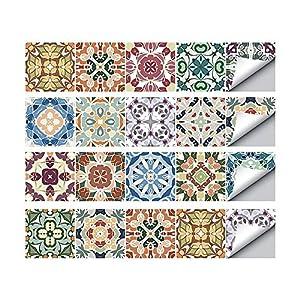 TONGXU 20PCS Autoadhesivo Azulejos Decorativos DIY Etiqueta del Azulejo PVC Azulejos de Suelo Sticker Estilo Retro Creativo para Baño Cocina 20x20cm (A)