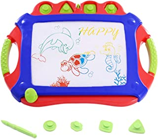 WISHTIME Magnetic Sketch Board Doodle Pro How to Draw Board for Toddler Dry Erase Writing Board Toys Doodle Sketch Learning Toys for Kids (Red-Blue)