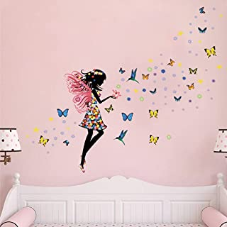 Supzone Butterfly Girl Wall Sticker Flower Fairy Wall...