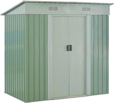 Goplus Garden Storage Shed Galvanized Steel Outdoor Tool House 4 x 6.2 Ft Heavy Duty W