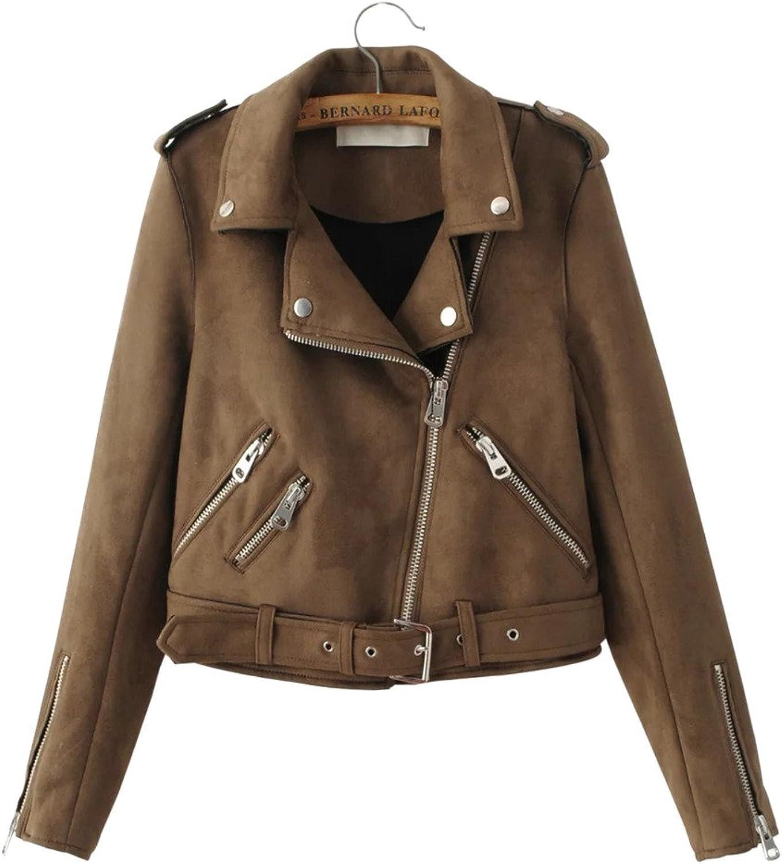 BabySea Women's Faux Suede Moto Jacket Open Front Pocket Slim Short Casual Coat Moto Jacket