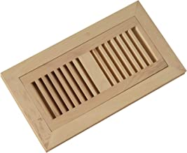 WELLAND 4-Inch by 10-Inch Hickory Flush Mount Vents with Frame,Wood Floor Register Vent Unfinished, 3/4