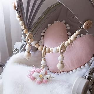 Wooden Teether Rings Wool Material Pink Unicorn Pendant Teether Rattle Squeaker Hex Geometric Beads Montessori Toys Pram String Links Clip On Pram