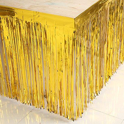 Table Coiffeuse Jupe en plastique pour couvertures de table de fête d'anniversaire de mariage Décoration Home Decor, 74 x 274 cm (1pc) golden 74*274cm