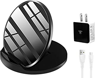 Fast Wireless Charger FSTDigitech Foldable Mirror Charging Pad Stand Holder 7.5W Compatible iPhone Xs MAX XR XS X 8 8 Plus 10W Compatible Galaxy S9 S9+ S8 S7 Note 8 (QC3.0 Adapter Included) (Black)