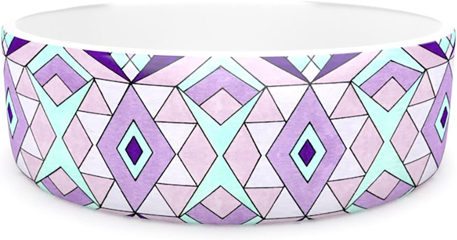 Kess InHouse Pom Graphic Design Geometric Flow  Pet Bowl, 7Inch, Lavender Geometric