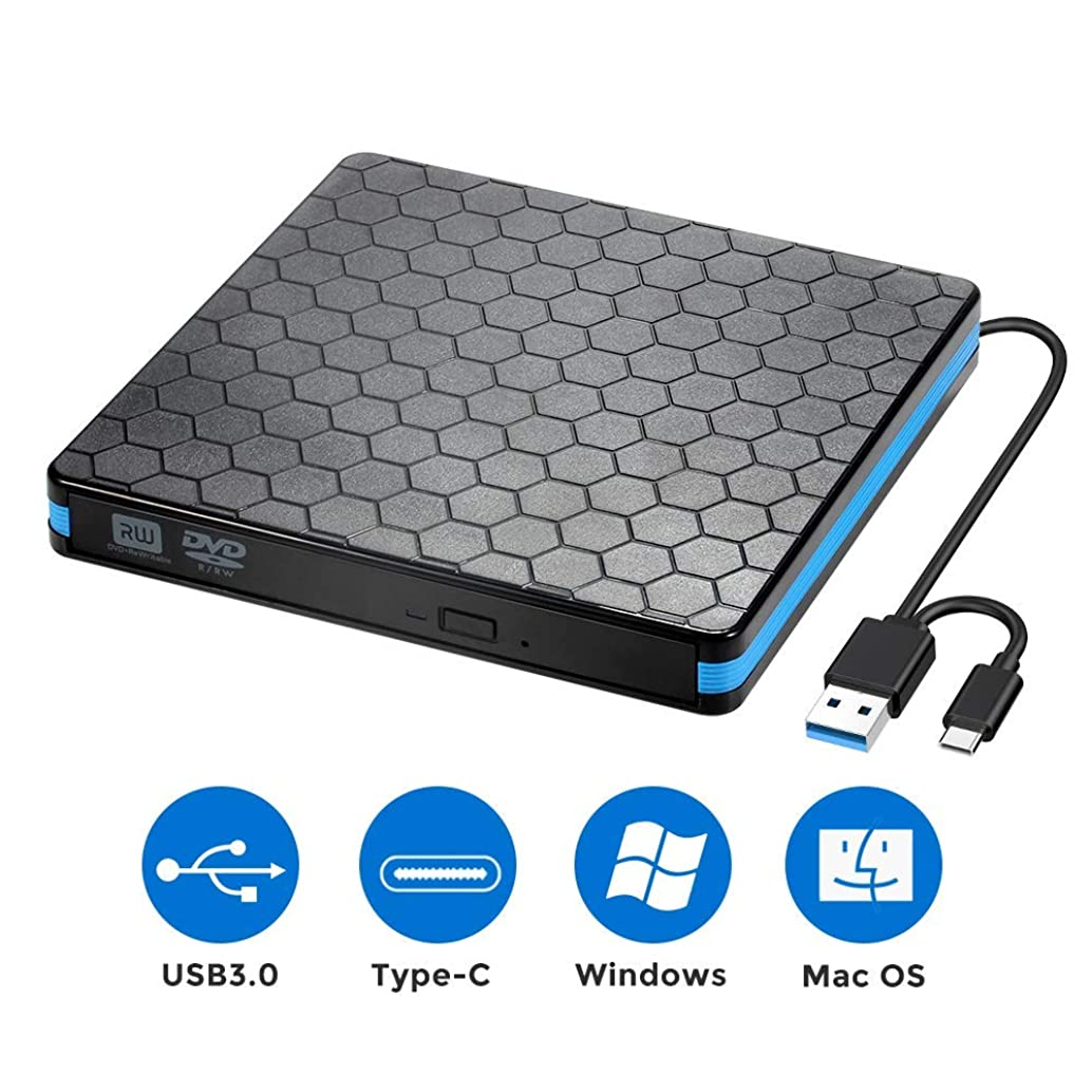 External Optical Drive, CD DVD Drive with USB 3.0 Type C, CD -ROM Reader VCD -RW Burner Writer for PC Desktop Laptop MacBook [Not for Chromebook] (Renewed)