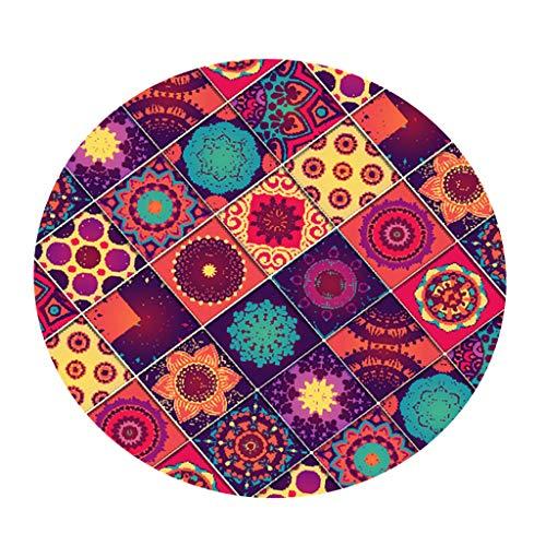 B Blesiya Tovaglia Rotonda in Poliestere Copertura Impermeabile con Bordo Elastico - Fiore 1,5m