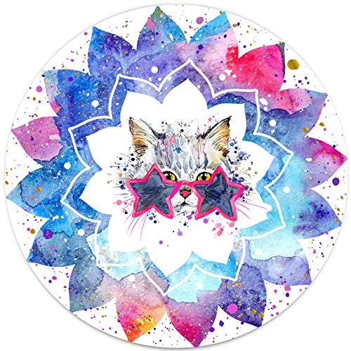 Cute Cat Watercolor Mouse Pad Galaxy Space Mandala Flower Meme Blue Purple Pink White Cool Round Mouse Pad Gaming for Laptop Computer Gaming Home Office