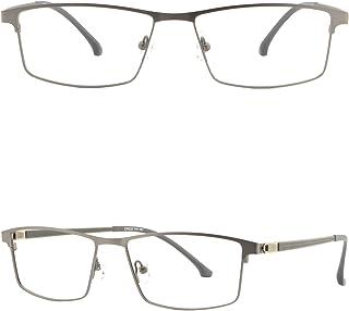 b8c48fb2f8 Light Mens Titanium Frames Large Metal Prescription Glasses Wide Sunglasses  Gray