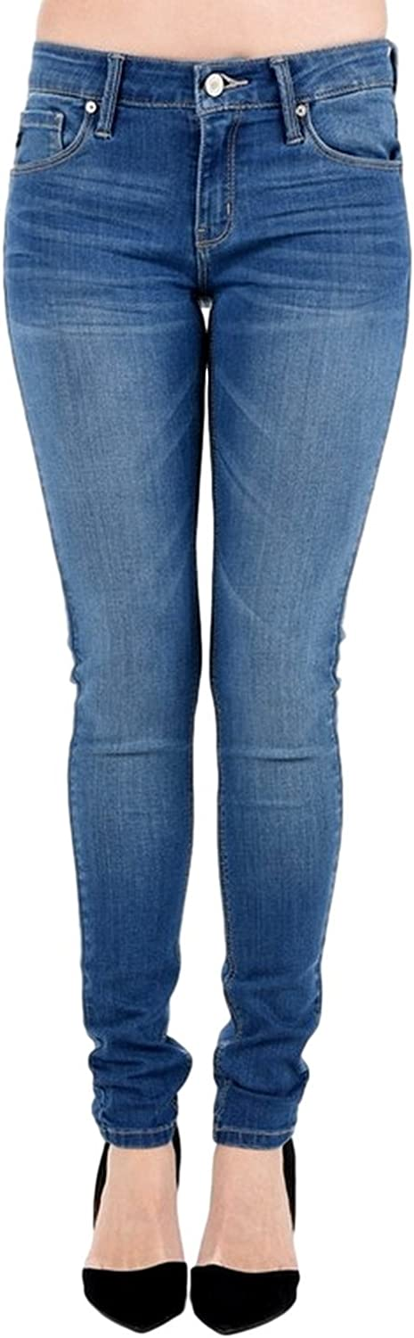 Kan Can Women's Mid Rise Skinny Jeans Medium Wash KC7203M