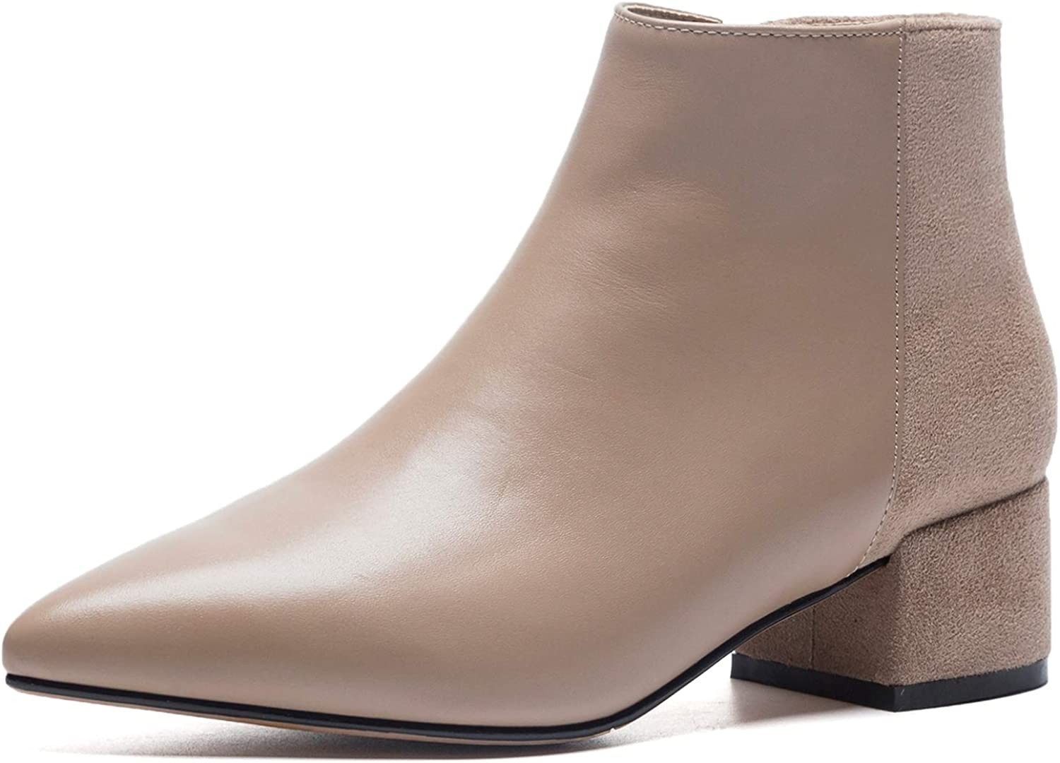 U-lite Womens Pointed Toe Zipper Up Slip On Chelsea Booties Marin Boots