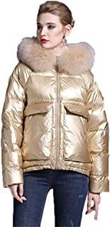 Winter New Tide Women's Short Thickened Down Jacket,Fashion Loose Warm Hooded Big Fur Collar Bright Surface Large Size Down Jacket,Gold,L