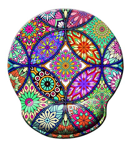 SuoLong Non Slip Mouse Pad Wrist Rest for Office, Computer, Laptop & Mac - Durable & Comfortable & Lightweight for Easy Typing & Pain Relief & Ergonomic Support(Colorful Mandala)