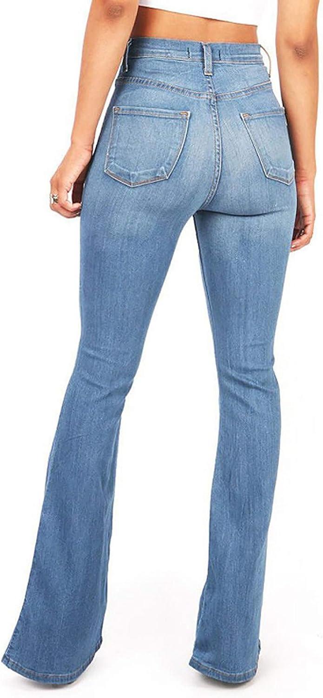 xoxing Women Jeans TIK Tok Ripped Hole Long Skinny Stretch High Waisted Straight Leg Denim Regular Pants(O)