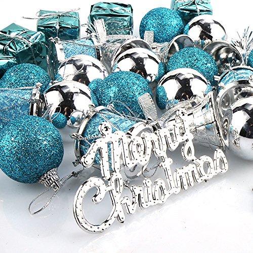 Parsion Weihnachtskugeln Weihnachtsdeko 32pcs Weihnachtskugeln Baumkugeln Baumschmuck Weihnachtsdeko Anhänger für Weihnachtsbaum-Ausgangsdekoration (blau)