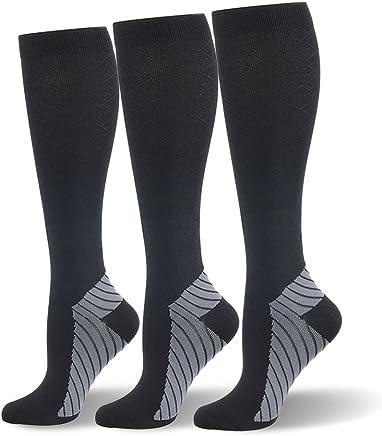 (S/M, Black, 3 Pairs) - HLTPRO Compression Socks for Men & Women 15-20 mmhg - Graduated Compression Socks Best for Running, Nurses, Shin Splints, Flight Travel & Maternity Pregnancy