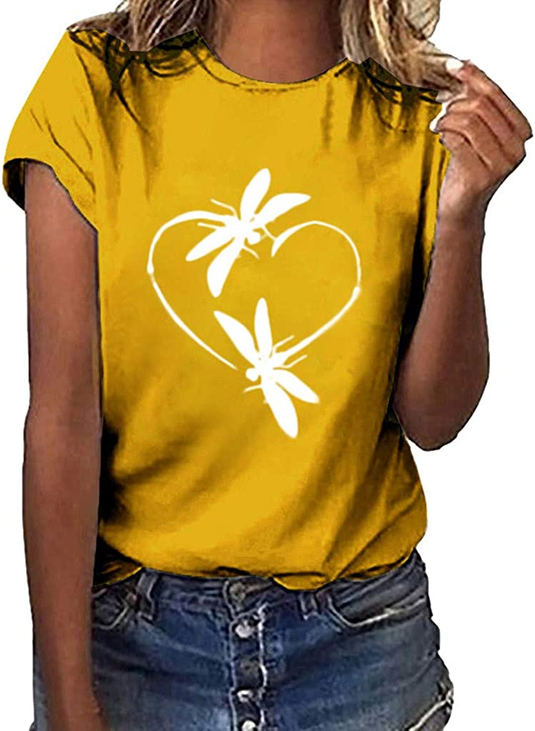 Womens Tops Clearance Under 10.00 Women's V-Neck Summer Casual Letters Printed Short Sleeves Graphic T-Shirt Yellow