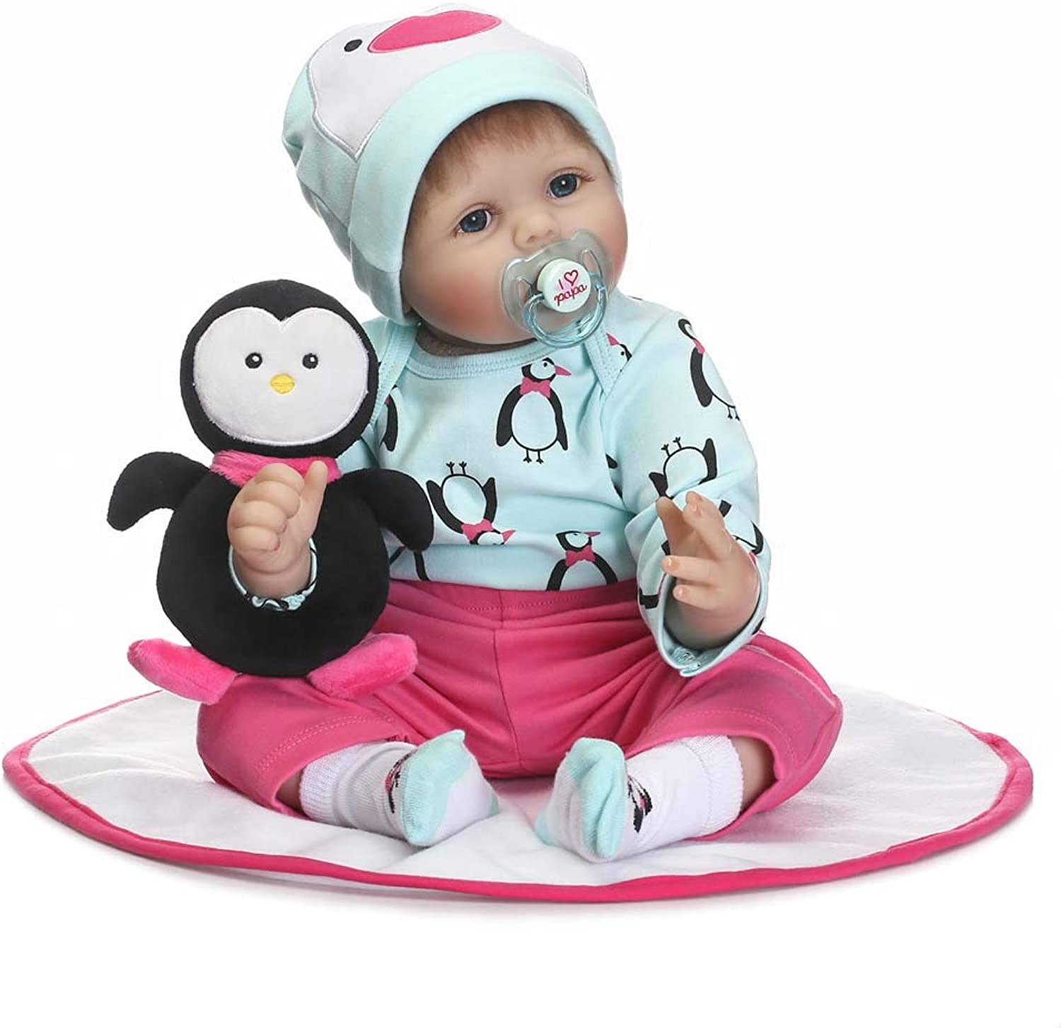 Reborn Baby Doll 22 Inch Handmade Real Lifelike Baby Doll With A Cute Penguin