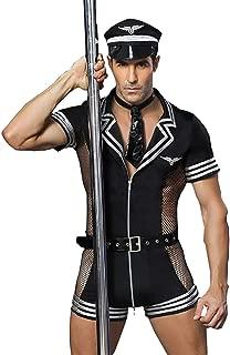 Mens Sexy Lingerie Set Role Play Pilot Uniform Night Club Costume Outfit Black