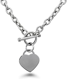 Stainless Steel Heart Tag Charm Chain Necklace w/Personalized Engraving w/Personalized Engraving
